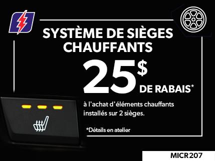 MICR207 - SYSTÈME DE SIÈGES CHAUFFANTS $25 DE RABAIS